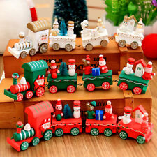 Cute Christmas Wooden Train Tree Santa Claus Children Kids Toy Ornament Gift New