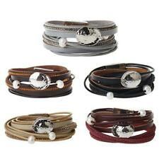 Punk Multilayer Leather Bracelet Bangle Fashion Charms Women Wristbands