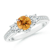 Round Citrine Diamond Three Stone Wedding Ring 14k Gold/ Platinum Size 3-13