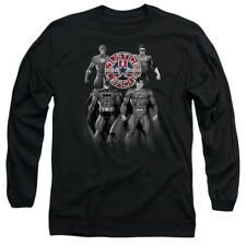 Justice League Heroes SHADES OF GRAY Licensed Adult Long Sleeve T-Shirt S-3XL