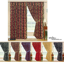 Fully Lined Designer Jacquard Curtains in 7 Sizes & 6 Colours incl Tie Backs