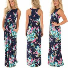 Women New Boho Floral Printed O-neck Summer Pleated Casual Dress