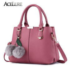 Women PU Leather Messenger bag Fur Decoration Girl Shoulder bags Casual Tote Bag