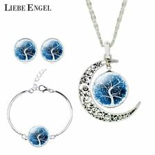 Silver Jewellery Set Moon Glass Necklace Stud Earrings Bracelet Sets