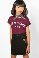 Boohoo Kids Girls Embroidered Denim Skirt