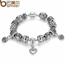 BAMOER Antique Silver Charm Bracelet & Bangle Silver 925 Heart Pendant Jewelry