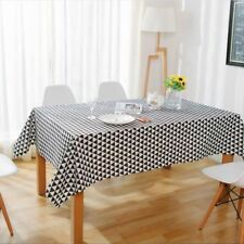 Black And White Color Cotton Linen Fabric Table Cover Cloth For Home Decor