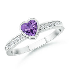 Bezel Heart Amethyst Promise Ring with Diamond Accents