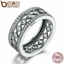 BAMOER 925 Sterling Silver Square Vintage Fascination, Clear CZ Big Ring Gift