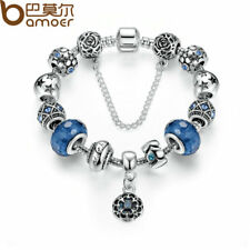 Silver Snake Chain Charm Bracelets & Bangles Safety Chain & Glass Beads Bracelet