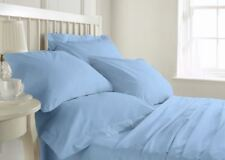 1000 TC Egyptian cotton Blue Color Full Fitted Duvet Cover Sheet Set Pillow