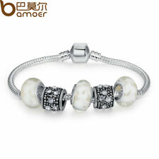 BAMOER Silver Charm Bracelet Bangle With White Murano Glass Beads Charm Jewelry