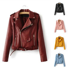 Women Autumn Winter PU Leather Biker Jacket Coat Punk Motorcycle Jacket