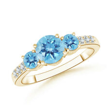Three Stone Round Swiss Blue Topaz Ring with Diamond 14K Yellow Gold