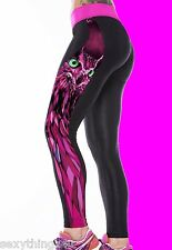 PINK OWL LEGGINGS CATWALK FASHION FUSCHIA PRINT LEGGINGS Choose Size-8-10-12