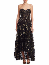 NWT Marchesa Notte Strapless 3D Floral High Low Black and Gold Evening Gown