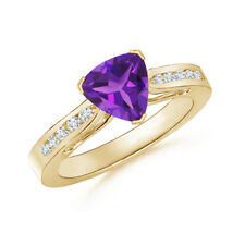 Trillion Cut Amethyst Solitaire Ring with Diamond Yellow Gold