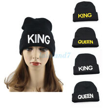 King & Queen Winter Beanie Cap Knitting Hat Lovers and Letter Warm Couple Unisex