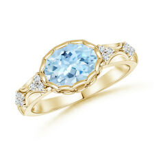 Oval Aquamarine Vintage Style Ring with Diamond 14K Yellow Gold