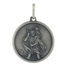 """Sterling Silver St Christopher Medal Antiqued Finish Pendant Charm 3/4"""" Round"""