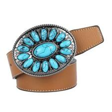 Mens Western Leather Belt Cowboy Cowgirl Turquoise Belt Buckle Accessories