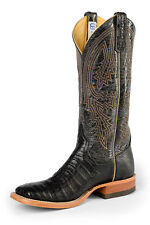 Anderson Bean Mens Black Leather Caiman Belly Cowboy Boots