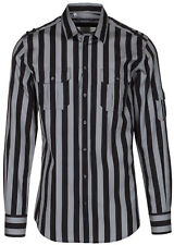 Dolce & Gabbana Men's 'GOLD' Black Striped Epaulet Button Down Dress Shirt