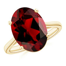 Classic Prong Set Solitaire Oval Garnet Cocktail Ring 14K Yellow Gold