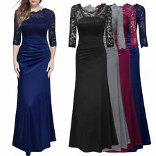 Gowns Full Dress Womens Evening Cocktail Party Bridesmaids Long Prom Lace Formal