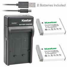 Kastar 2 Battery & Slim USB Charger for Canon NB-6L NB6L NB-6LH NB6LH CB-2LY