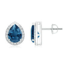 Pear Shaped London Blue Topaz Diamond Stud Earrings 14k White Gold