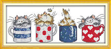 Cats hide in the cups cross stitch kits 18ct 14ct 11ct counted print fabric set