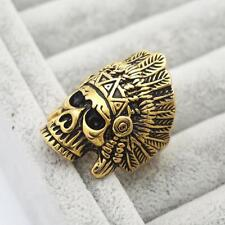 Stainless Steel Indian Chief Head Ring Skull Ring Gothic Rock Mens US 7 - 13