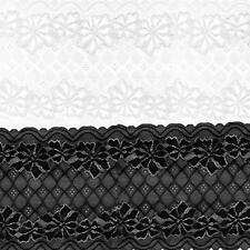 5 Yards 24cm Stretch Soft Floral Lace Trim Decoration Craft Sewing Dress Making