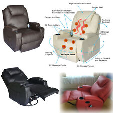 Massage Heating Recliner Chair PU Leather Vibrating Sofa Lounge Remote Control