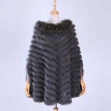 Women knitted genuine rabbit raccoon fur poncho cape coat pullover scarf shawl