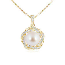 """8mm Akoya Cultured Pearl Necklace Pendant with Braided Diamonds 18"""" Chain"""