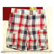 Nwt Crazy 8 boys size 2 2T red blue plaid cargo Shorts Twins New