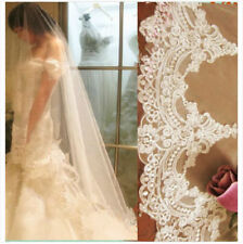 1T Wedding Veils Cathedral Lace Edge Bridal Veil White/Ivory Accessories0028