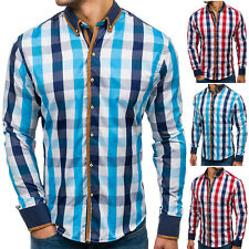 BOLF Mens Shirts Long Sleeve Casual Flannel Work Button Down Check 2B2 Classic