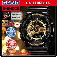 AU Seller Casio G-Shock Analogue/Digital Mens Black/Gold Watch GA-110GB-1A