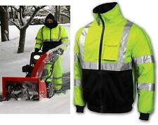 High Vis Class 3 Lime Safety Bomber Jacket With Zip Out Fleece Lining