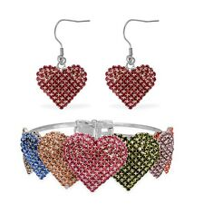 "Bold Silvertone Austrian Crystal Heart Earrings and Bangle 7.5"" Choice of Colors"