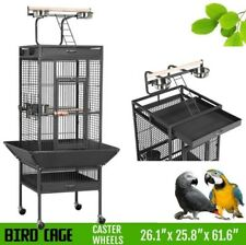 Large Parrot Metal Cage Stand With Play Top Wheeled Bird Cages Removeable Tray