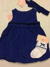 NWT Gymboree baby girl blue dot bubble party DRESS holiday  socks SET 0 3 6 9 12