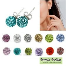 1 Pair Sparkle Shamballa Stud Earrings 10mm Disco Pave Ball