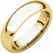 5 mm Comfort Band Wedding Ring Solid Polished 14K Yellow or White Gold Size 6-14
