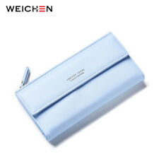 Women Long Wallets Phone Coin Pocket Credit Card Zipper Solid PU Leather Purse