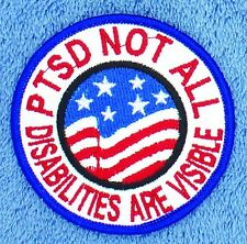 """PTSD Not All Disabilities are Visible Service Dog Patch 3"""" Disabled Veteran"""
