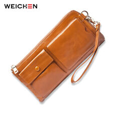 WEICHEN Cow Genuine Leather Women Wristlet Bag.Cell Phone Coin Card Pocket Purse